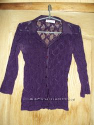 Фиолетовая прозрачная кофта-блузка