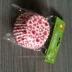 бумажные формы в сердечки для выпечки кексов, маффинов, 100 шт.