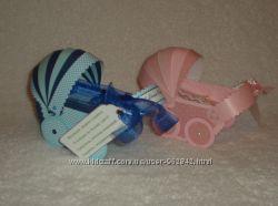 Открытка- колясочка для денежного подарка для девочки