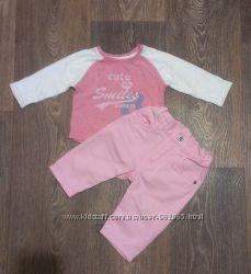 стильные розовые джинсы H&M и регланчик Next, до годика