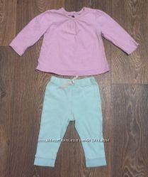 комплект мятного цвета штанишки и нежная кофточка, до годика
