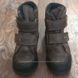 крутые кожаные деми-еврозима термо-ботинки, р. 25, 16 см