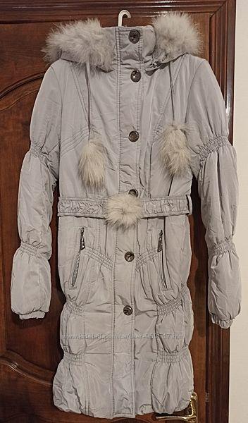 Пальто зима бу светло-серое 46р.