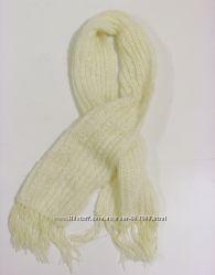 Белый шарф hand-made, шерсть