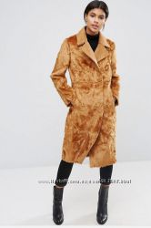 Пальто из искусственного меха цвета кэмэл, ASOS