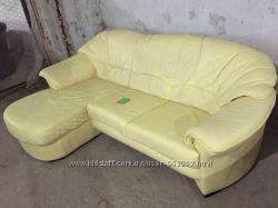 Кожаный мягкий угловой диван цвет Желтый Супер мягкая кожа