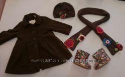 Коричневое пальто gap шапка шарф catimini Франция