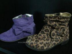 Ботинки 25 р. полусапожки H&M сиреневые леопардовые лео замшевые иск. замш