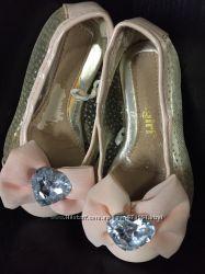Персиковые туфли балетки girls2girls 24 6 р стразы сердце бант