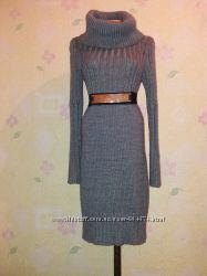 Тёплое модное  вязанное платье миди крупной вязки
