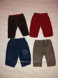 Вельветовые штаны брюки для мальчика и девочки  0-6 мес. набором 4 шт.