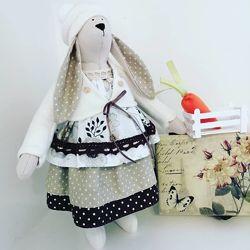 Интерьерная кукла заяц тильда зайка текстильный