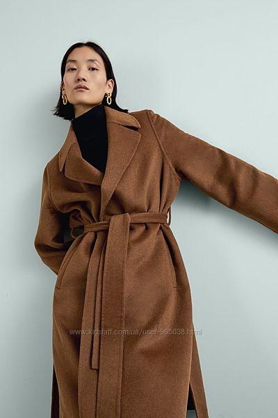 Пальто на запах zara цвет тоффи и беж