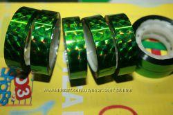 Голографическая лента призма зеленая для обмотки и декора