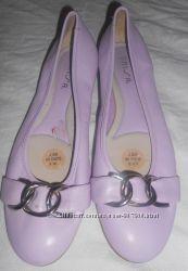 Туфли-балетки из натуральной кожи с пряжкой, р-р 38.