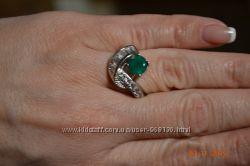 Кольцо серебро с агатом и цирконием р. 16, 5