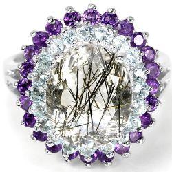 Кольцо серебро рутиловый кварц, топаз, аметист р. 17, 75