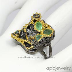 Серебряное кольцо с изумрудом и сапфиром р. 17, 75