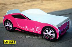 Кровать-машина Nissan розового цвета из МДФ