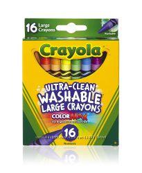 Большие смываемые восковые карандаши Crayola Ultra-Clean 16 штук