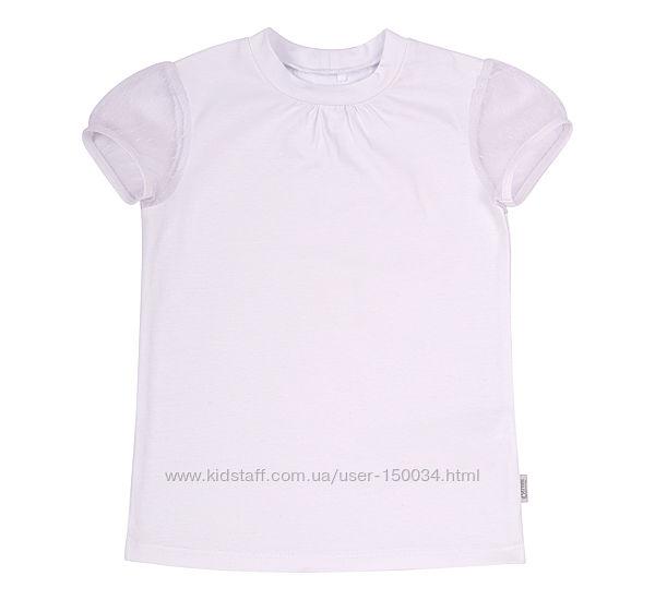Модная школьная футболка-блузка с гипюром фб795 тм Бемби - р.116-146