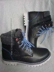 Распродажа Кожаные зимние ботинки на натур. шерсти для мальчиков в наличии