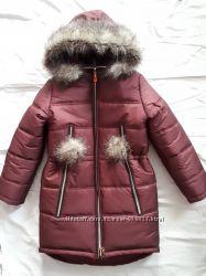 Акция Теплые зимние куртки-пальто-пуховики для девочек в наличии, р. 128-14