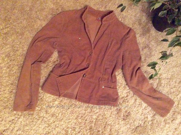 Куртка-пиджак вельветовый бежевый 36 размер
