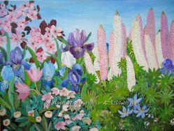 Авторская картина Весенний сад, холст, акрил, размер 60х80 см