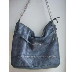 0d50dcd0ae2a Серо-синяя сумка из натуральной кожи на цепочке, кроссбоди, клатч ...