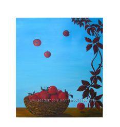 Поклонникам Зеланда - картина Когда яблоки падают в небо, холст, масло
