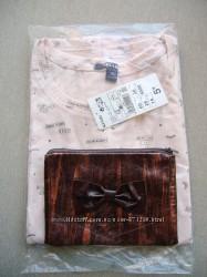 Подарок для девушки-подростка футболка Kiabi и косметичка hand made из нат