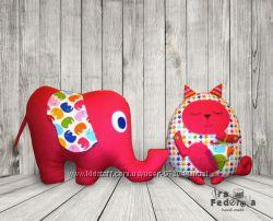мягкие игрушки слон и кот сплюшка