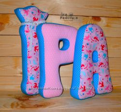 Детские буквы, буквы из ткани, буквы-подушки, мягкие буквы
