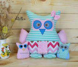 Мягкая подушка-игрушка Сова с совятами