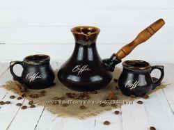 Подарочный набор для кофе турка с чашками, турка и две чашки купить