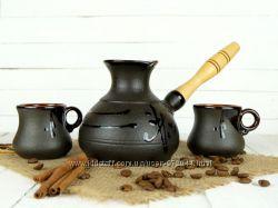 Турка керамическая для кофе 360мл-полезный объем и 2 чашки