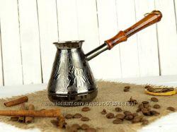 Металлическая турка, медная турка 300мл, кофеварка купить, джезва Ирис