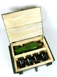 Бойовий резерв - бутылка и рюмки в деревянном ящике, подарок мужчине