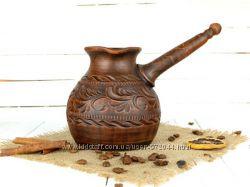 Гончарная турка 700мл, турка из красной глины, глиняная турка