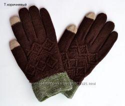 Сенсорные перчатки на осень-зиму. В наличии темно-коричневые