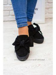 Andrea Morelli черные туфли слипоны слиперы с бантами р 35 - 35. 5 Италия