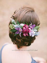 Ободки, венки, цветы, бутоньерки, браслеты, серьги, шпильки, заколки, венки