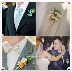 Бутоньерка жениху, цветы в волосы невесте, обручи, венки, заколки, шпильки,