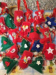 Новогодние игрушки на ёлку из фетра ручная работа