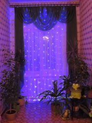 Новогодняя LED гирлянда сетка, водонепроницаемая 2 на 2 м синяя