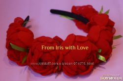 Веночки обручи с цветами ручной работы