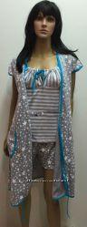 Трикотажный комплект для кормящих и беременных мам с шортами