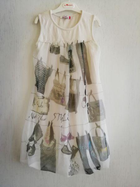 Платье с оригинальным принтом на фатине 9-11 лет