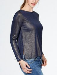 Новая кофточка блузка синего цвета с золотым напылением, Kiabi, размер  M